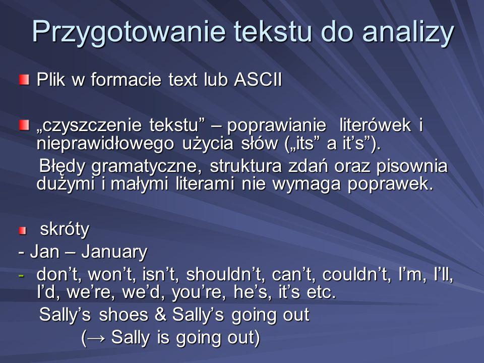 Przygotowanie tekstu do analizy Plik w formacie text lub ASCII czyszczenie tekstu – poprawianie literówek i nieprawidłowego użycia słów (its a its).