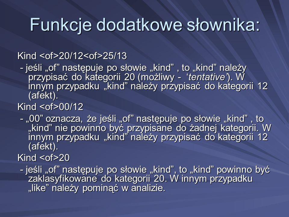 Funkcje dodatkowe słownika: Kind 20/12 25/13 - jeśli of następuje po słowie kind, to kind należy przypisać do kategorii 20 (możliwy - tentative).
