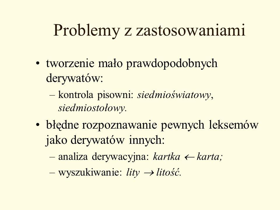 Problemy z zastosowaniami tworzenie mało prawdopodobnych derywatów: –kontrola pisowni: siedmioświatowy, siedmiostołowy. błędne rozpoznawanie pewnych l