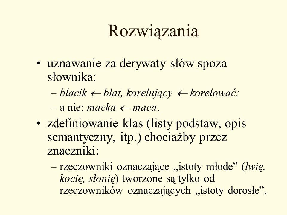 Rozwiązania uznawanie za derywaty słów spoza słownika: –blacik blat, korelujący korelować; –a nie: macka maca. zdefiniowanie klas (listy podstaw, opis