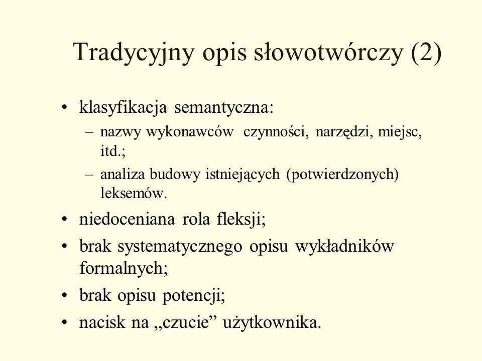 Tradycyjny opis słowotwórczy (2) klasyfikacja semantyczna: –nazwy wykonawców czynności, narzędzi, miejsc, itd.; –analiza budowy istniejących (potwierd