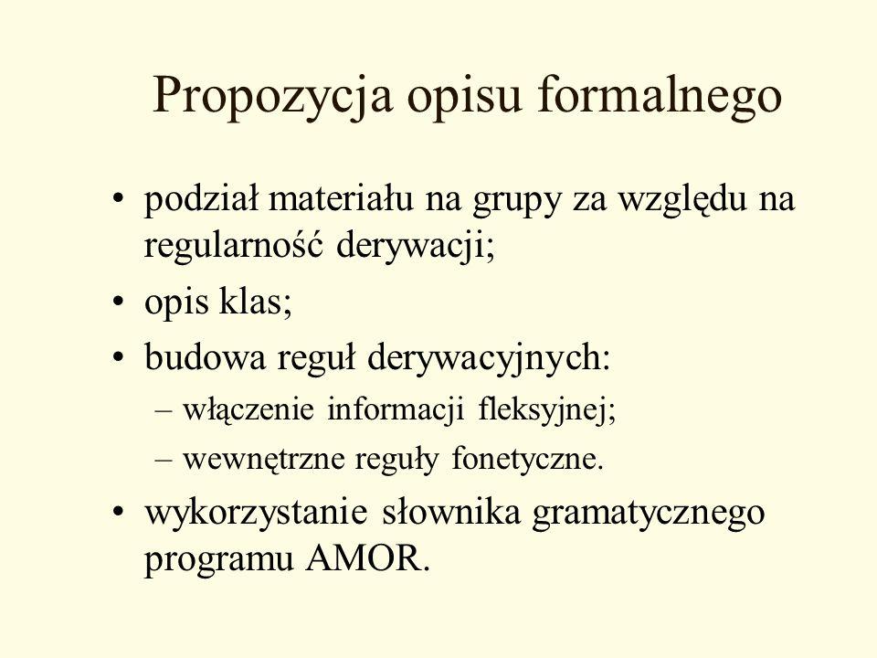 Propozycja opisu formalnego podział materiału na grupy za względu na regularność derywacji; opis klas; budowa reguł derywacyjnych: –włączenie informac