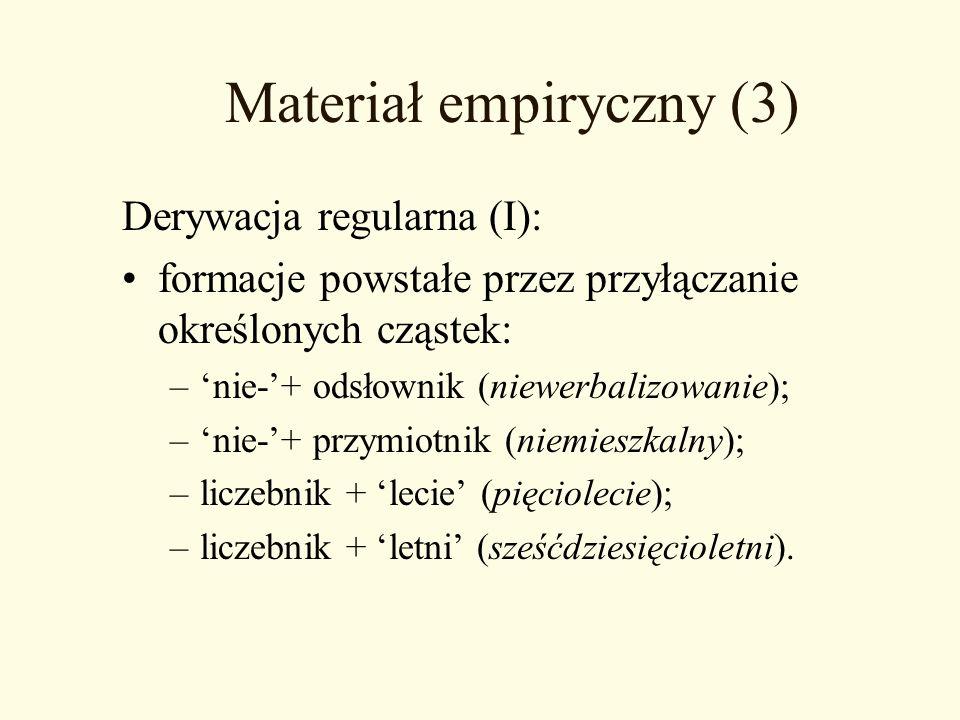 Materiał empiryczny (3) Derywacja regularna (I): formacje powstałe przez przyłączanie określonych cząstek: –nie-+ odsłownik (niewerbalizowanie); –nie-