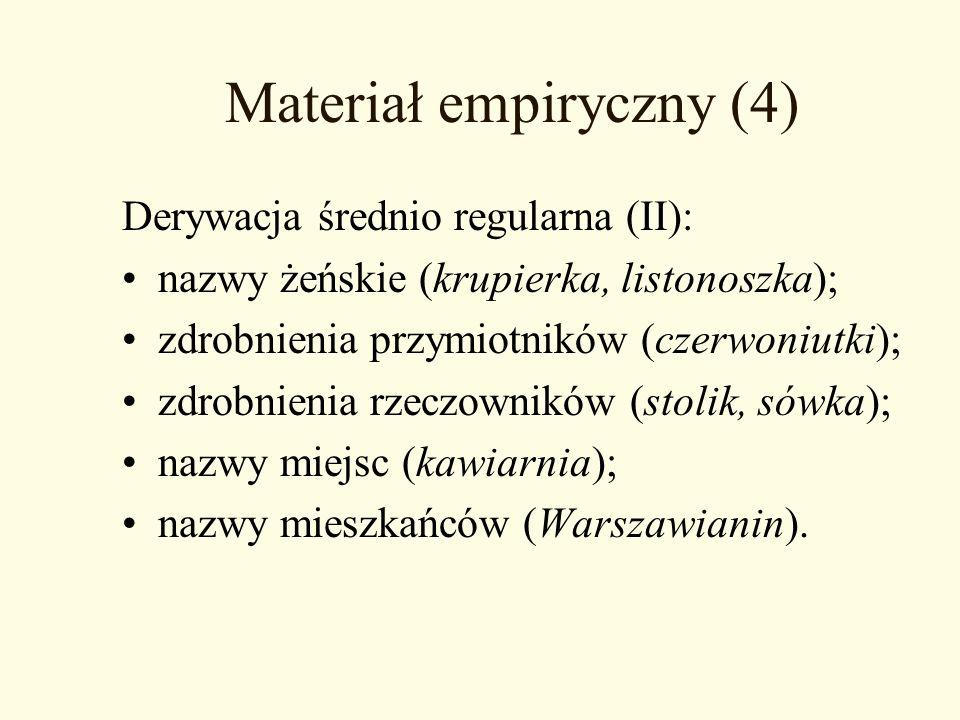 Materiał empiryczny (4) Derywacja średnio regularna (II): nazwy żeńskie (krupierka, listonoszka); zdrobnienia przymiotników (czerwoniutki); zdrobnieni