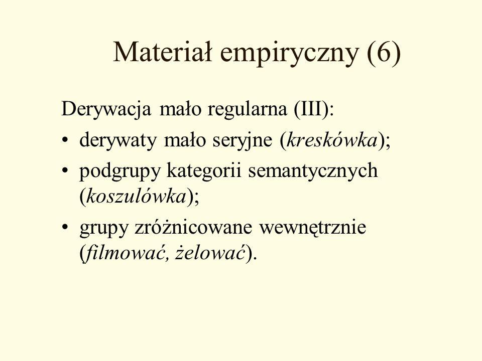 Materiał empiryczny (6) Derywacja mało regularna (III): derywaty mało seryjne (kreskówka); podgrupy kategorii semantycznych (koszulówka); grupy zróżni