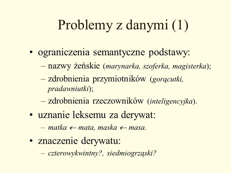 Problemy z danymi (1) ograniczenia semantyczne podstawy: –nazwy żeńskie (marynarka, szoferka, magisterka); –zdrobnienia przymiotników (gorącutki, prad