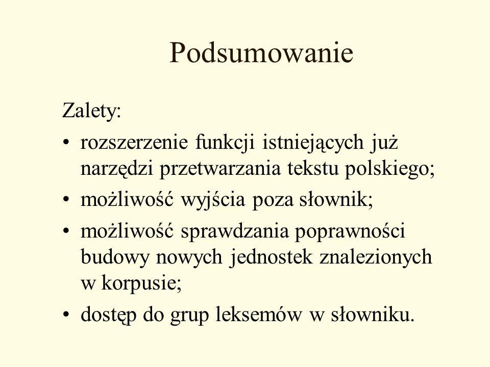 Podsumowanie Zalety: rozszerzenie funkcji istniejących już narzędzi przetwarzania tekstu polskiego; możliwość wyjścia poza słownik; możliwość sprawdza