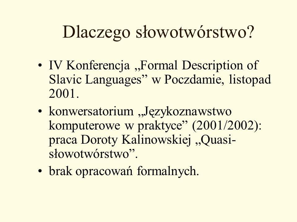 Dlaczego słowotwórstwo? IV Konferencja Formal Description of Slavic Languages w Poczdamie, listopad 2001. konwersatorium Językoznawstwo komputerowe w