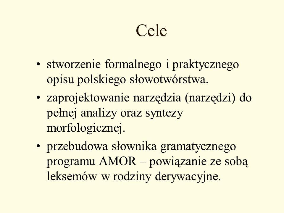 Cele stworzenie formalnego i praktycznego opisu polskiego słowotwórstwa. zaprojektowanie narzędzia (narzędzi) do pełnej analizy oraz syntezy morfologi