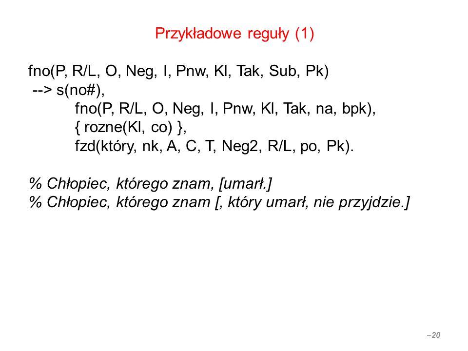 Przykładowe reguły (1) fno(P, R/L, O, Neg, I, Pnw, Kl, Tak, Sub, Pk) --> s(no#), fno(P, R/L, O, Neg, I, Pnw, Kl, Tak, na, bpk), { rozne(Kl, co) }, fzd(który, nk, A, C, T, Neg2, R/L, po, Pk).