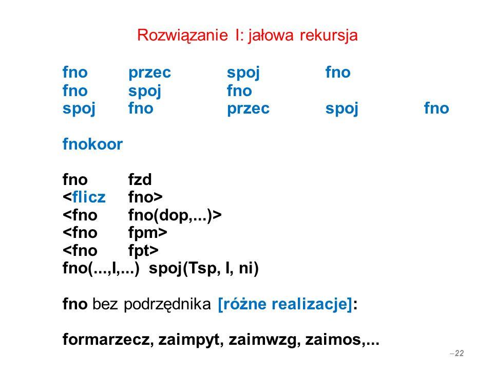 Rozwiązanie I: jałowa rekursja fnoprzecspojfno fnospojfno spojfno przec spoj fno fnokoor fno fzd fno(...,I,...) spoj(Tsp, I, ni) fno bez podrzędnika [różne realizacje]: formarzecz, zaimpyt, zaimwzg, zaimos,...