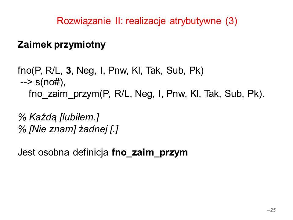 Rozwiązanie II: realizacje atrybutywne (3) Zaimek przymiotny fno(P, R/L, 3, Neg, I, Pnw, Kl, Tak, Sub, Pk) --> s(no#), fno_zaim_przym(P, R/L, Neg, I, Pnw, Kl, Tak, Sub, Pk).
