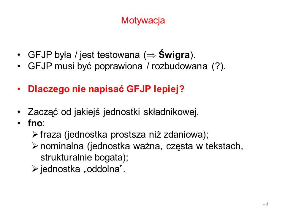 Motywacja GFJP była / jest testowana ( Świgra). GFJP musi być poprawiona / rozbudowana ( ).