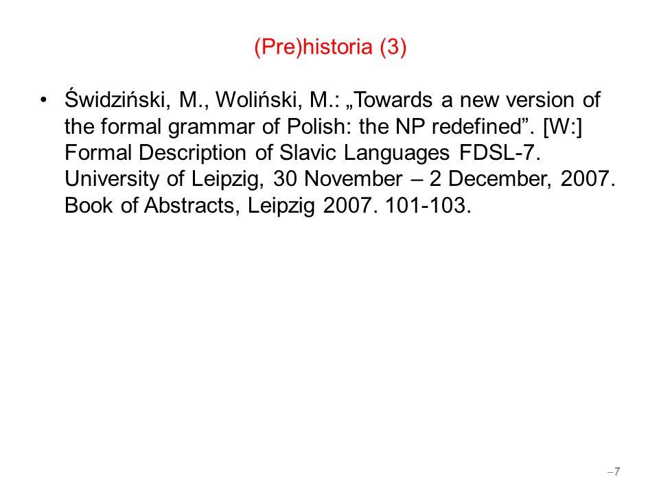 Format i parametry (2) Pprzypadek R/Lrodzaj i liczba Oosoba Negnegacja Iinkorporacja: bowiem, natomiast, więc, zaś, ni, bp; R/L Pnwpytajno-niepytajność: npyt, pyt, pz, wz Klklasa: rzecz, os, co, kto, który, jaki, nuzg, uzg Taktaktylowatość: tk, tyle Subnad-podrzędność: na, po Pkprzecinkowość końcowa: bp, stan Poz pozycja: pre, post, egz Spoznaczenie spójnika – 18