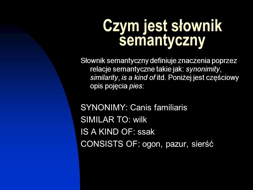 Czym jest słownik semantyczny Słownik semantyczny definiuje znaczenia poprzez relacje semantyczne takie jak: synonimity, similarity, is a kind of itd.
