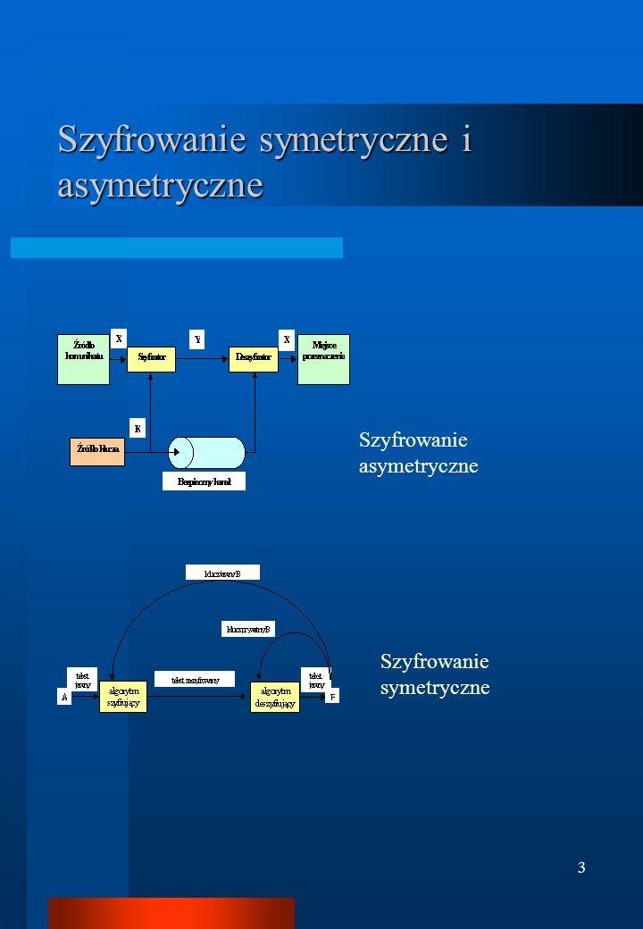 4 Metody szyfrowania symetrycznego i asymetrycznego Metody symetryczne –Szyfry podstawieniowe jednoalfabetowe (np.