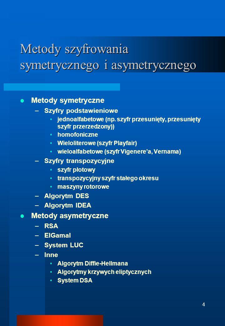 4 Metody szyfrowania symetrycznego i asymetrycznego Metody symetryczne –Szyfry podstawieniowe jednoalfabetowe (np. szyfr przesunięty, przesunięty szyf