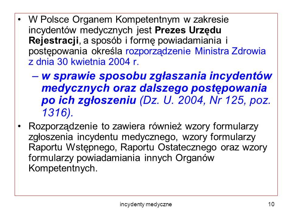 incydenty medyczne10 W Polsce Organem Kompetentnym w zakresie incydentów medycznych jest Prezes Urzędu Rejestracji, a sposób i formę powiadamiania i p