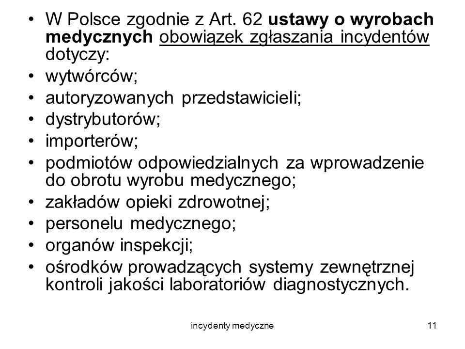incydenty medyczne11 W Polsce zgodnie z Art. 62 ustawy o wyrobach medycznych obowiązek zgłaszania incydentów dotyczy: wytwórców; autoryzowanych przeds