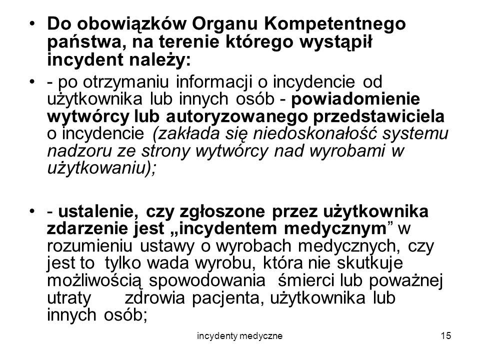 incydenty medyczne15 Do obowiązków Organu Kompetentnego państwa, na terenie którego wystąpił incydent należy: - po otrzymaniu informacji o incydencie