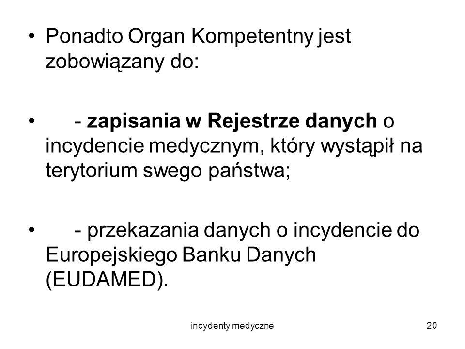 incydenty medyczne20 Ponadto Organ Kompetentny jest zobowiązany do: - zapisania w Rejestrze danych o incydencie medycznym, który wystąpił na terytoriu