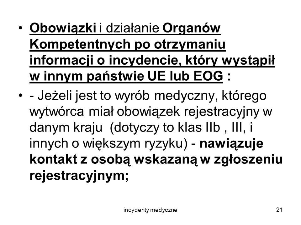 incydenty medyczne21 Obowiązki i działanie Organów Kompetentnych po otrzymaniu informacji o incydencie, który wystąpił w innym państwie UE lub EOG : -