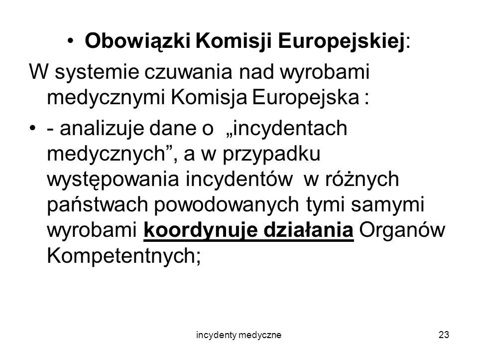 incydenty medyczne23 Obowiązki Komisji Europejskiej: W systemie czuwania nad wyrobami medycznymi Komisja Europejska : - analizuje dane o incydentach m