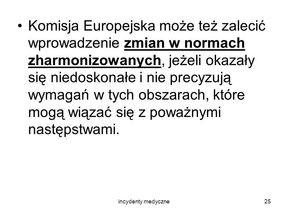 incydenty medyczne25 Komisja Europejska może też zalecić wprowadzenie zmian w normach zharmonizowanych, jeżeli okazały się niedoskonałe i nie precyzuj