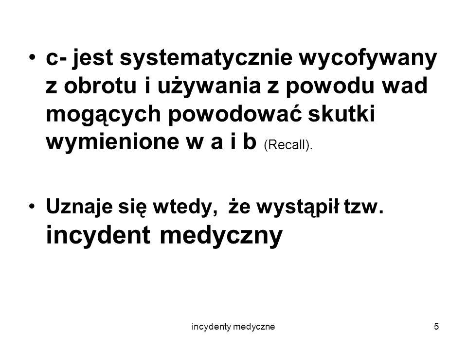 incydenty medyczne6 Systematyczne wycofywanie wyrobów tego samego typu (RECALL wg.