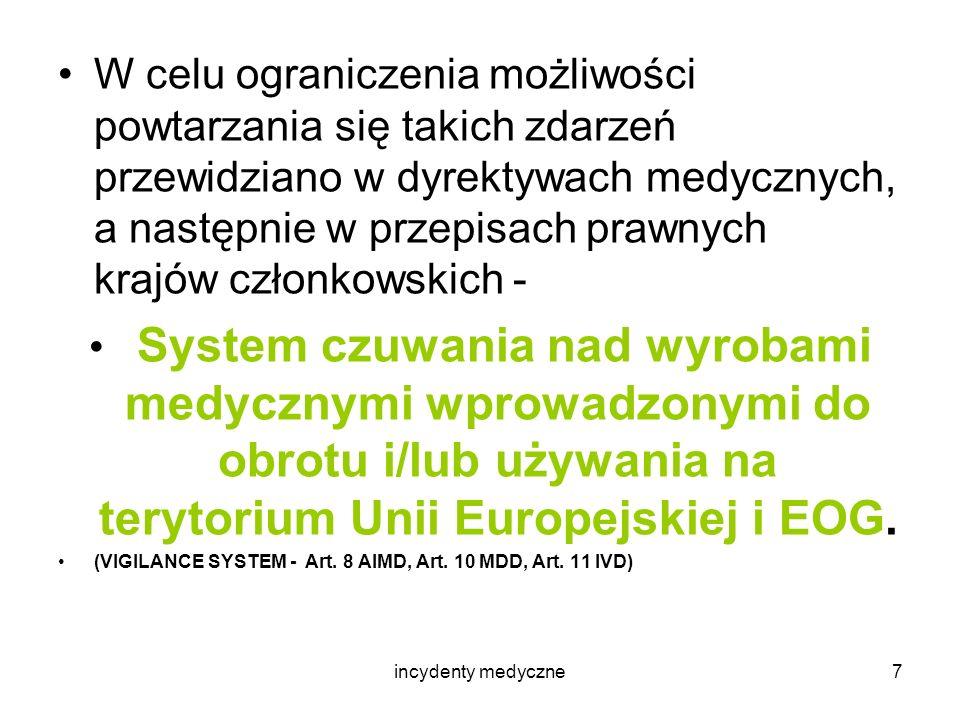 incydenty medyczne8 W systemie tym współdziałają: - użytkownik, - wytwórca, - Organy Kompetentne państw członkowskich UE i EOG, - Komisja Europejska.