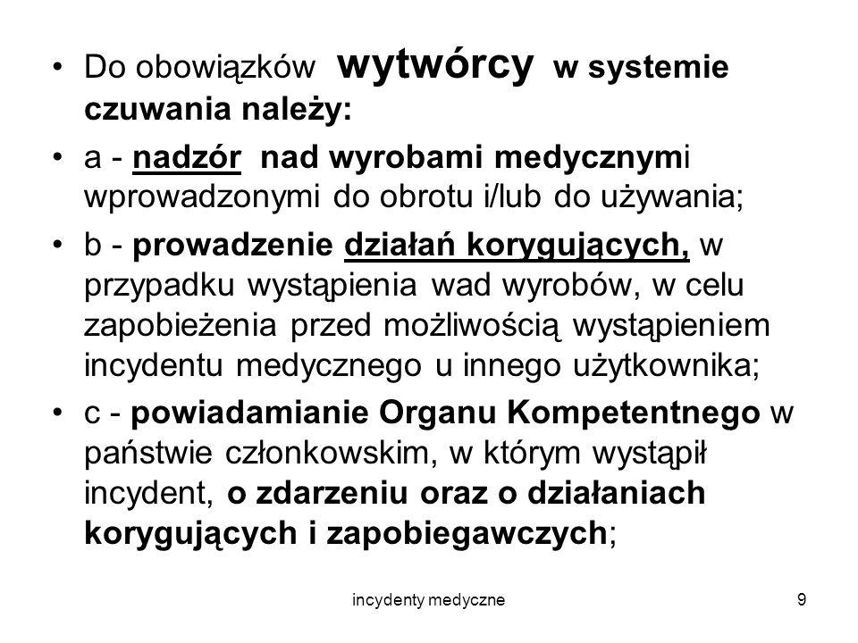 incydenty medyczne10 W Polsce Organem Kompetentnym w zakresie incydentów medycznych jest Prezes Urzędu Rejestracji, a sposób i formę powiadamiania i postępowania określa rozporządzenie Ministra Zdrowia z dnia 30 kwietnia 2004 r.