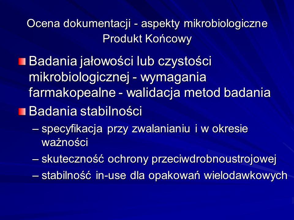 CPMP/QWP/2934/99 Note for Guidance for In- Use Stability Testing of Human Medicinal Products - Annex to Note for Guidance on Stability Testing of Existing Active Substances and Related Finished Products and Note for Guidance on Stability Testing of New Drug Substances and Products (CPMP adopted February 2001) Badania czystości mikrobiologicznej lub jałowości Badania skuteczności ochrony przeciwdrobnoustrojowej Badania stabilności dla produktów w opakowaniach wielodawkowych (dla 2 serii przynajmniej skali pilotażowej, dla jednej serii badania na koniec terminu ważności).
