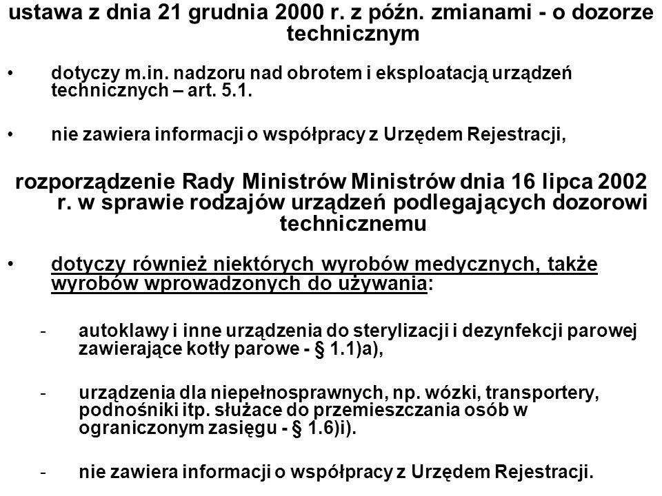 ustawa z dnia 21 grudnia 2000 r. z późn. zmianami - o dozorze technicznym dotyczy m.in. nadzoru nad obrotem i eksploatacją urządzeń technicznych – art