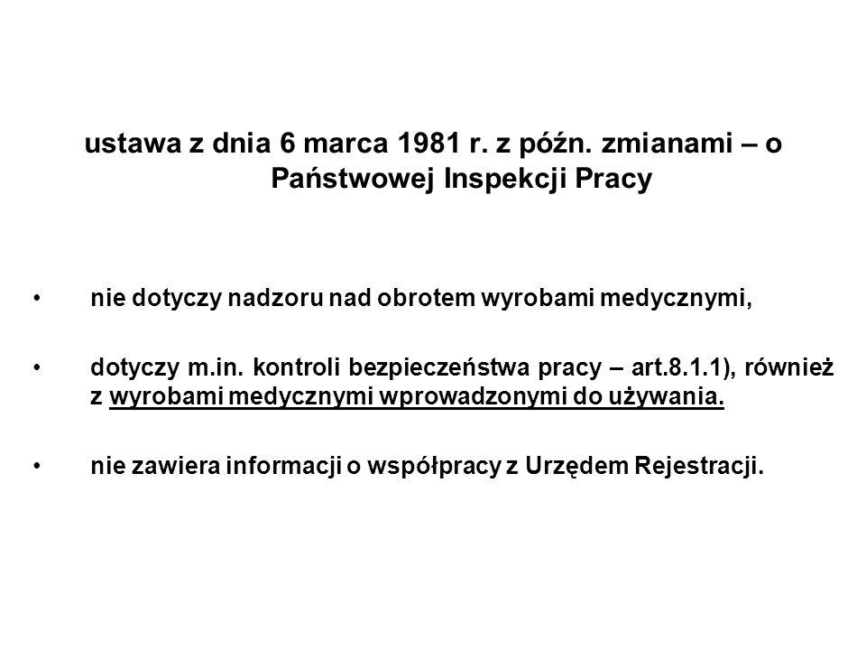 ustawa z dnia 6 marca 1981 r. z późn. zmianami – o Państwowej Inspekcji Pracy nie dotyczy nadzoru nad obrotem wyrobami medycznymi, dotyczy m.in. kontr