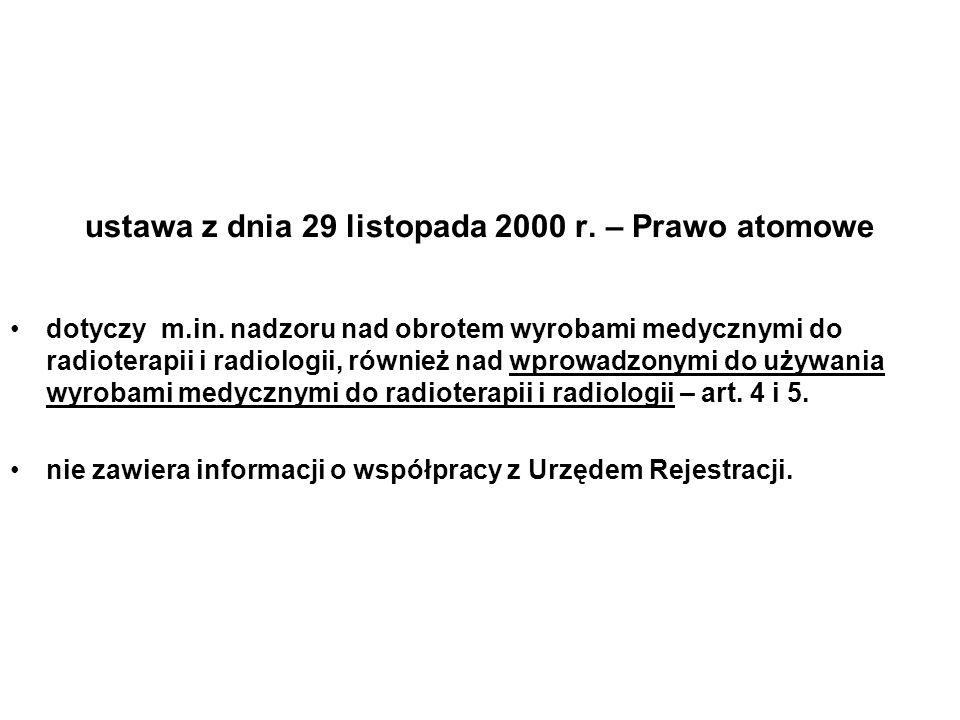 ustawa z dnia 29 listopada 2000 r. – Prawo atomowe dotyczy m.in. nadzoru nad obrotem wyrobami medycznymi do radioterapii i radiologii, również nad wpr
