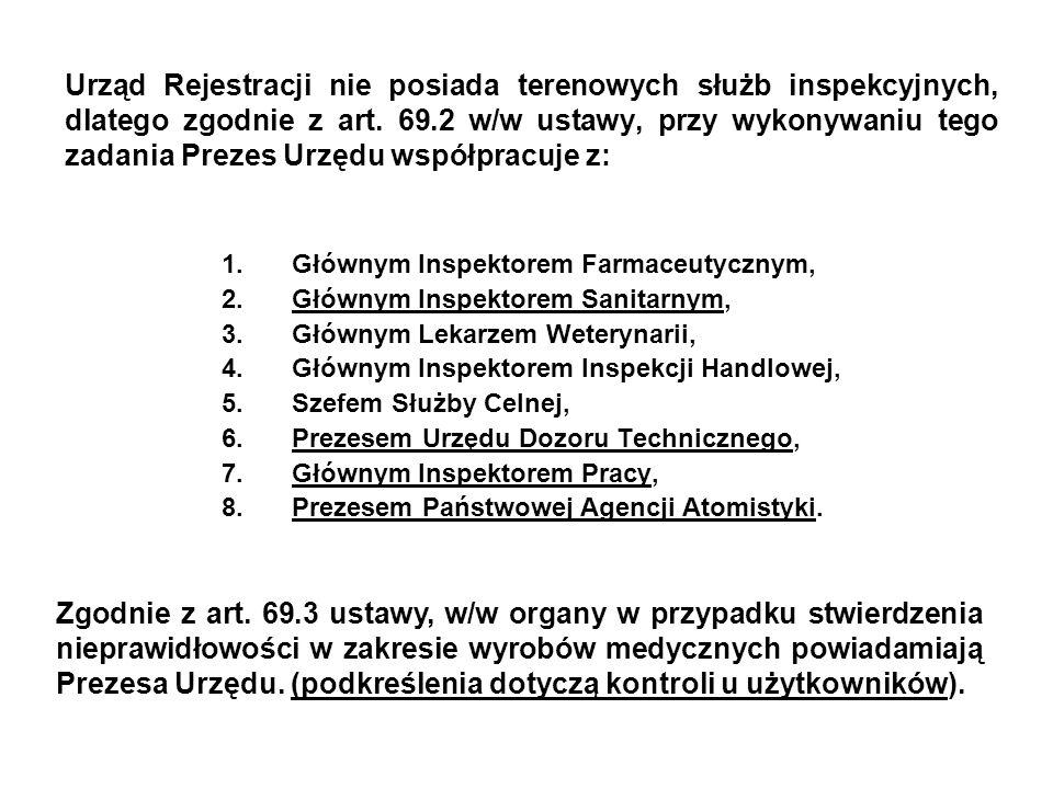 Urząd Rejestracji nie posiada terenowych służb inspekcyjnych, dlatego zgodnie z art. 69.2 w/w ustawy, przy wykonywaniu tego zadania Prezes Urzędu wspó