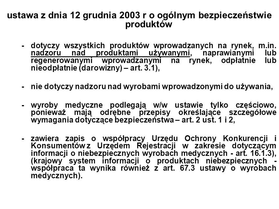 ustawa z dnia 12 grudnia 2003 r o ogólnym bezpieczeństwie produktów -dotyczy wszystkich produktów wprowadzanych na rynek, m.in. nadzoru nad produktami