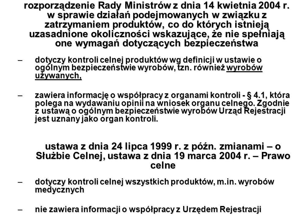 rozporządzenie Rady Ministrów z dnia 14 kwietnia 2004 r. w sprawie działań podejmowanych w związku z zatrzymaniem produktów, co do których istnieją uz