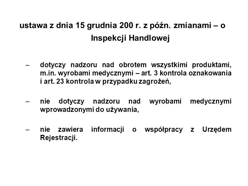 ustawa z dnia 15 grudnia 200 r. z późn. zmianami – o Inspekcji Handlowej –dotyczy nadzoru nad obrotem wszystkimi produktami, m.in. wyrobami medycznymi