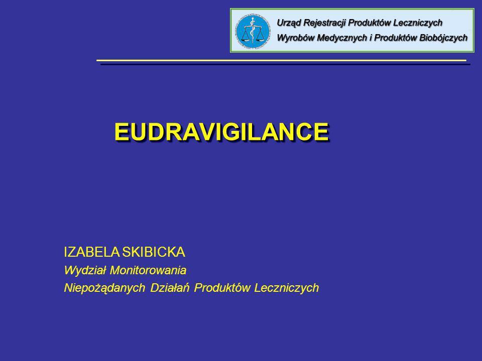 EudraVigilance EudraVigilance to europejski system elektronicznego przesyłania, przetwarzania, oceny i analizy danych zawartych w zgłoszeniach dotyczących pojedynczych przypadków – ICSRs (Individual Case Safety Reports) oraz zgłoszeniach dotyczących ciężkich, niespodziewanych działań niepożądanych z badań klinicznych – SUSARs (Suspected Unexpected Serious Adverse Reactions) dotyczących produktów leczniczych zarejestrowanych w krajach Unii Europejskiej www.eudravigilance.org