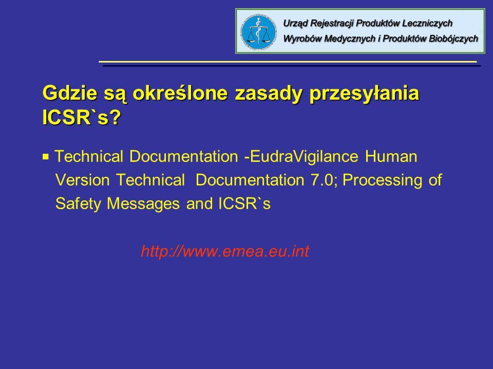 Gdzie są określone zasady przesyłania ICSR`s? Technical Documentation -EudraVigilance Human Version Technical Documentation 7.0; Processing of Safety
