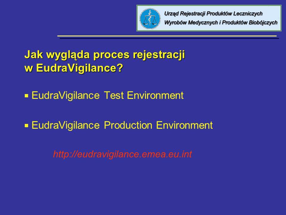 Jak wygląda proces rejestracji w EudraVigilance? EudraVigilance Test Environment EudraVigilance Production Environment http://eudravigilance.emea.eu.i