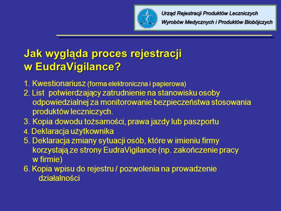 Jak wygląda proces rejestracji w EudraVigilance? 1. Kwestionariusz (forma elektroniczna i papierowa) 2. List potwierdzający zatrudnienie na stanowisku