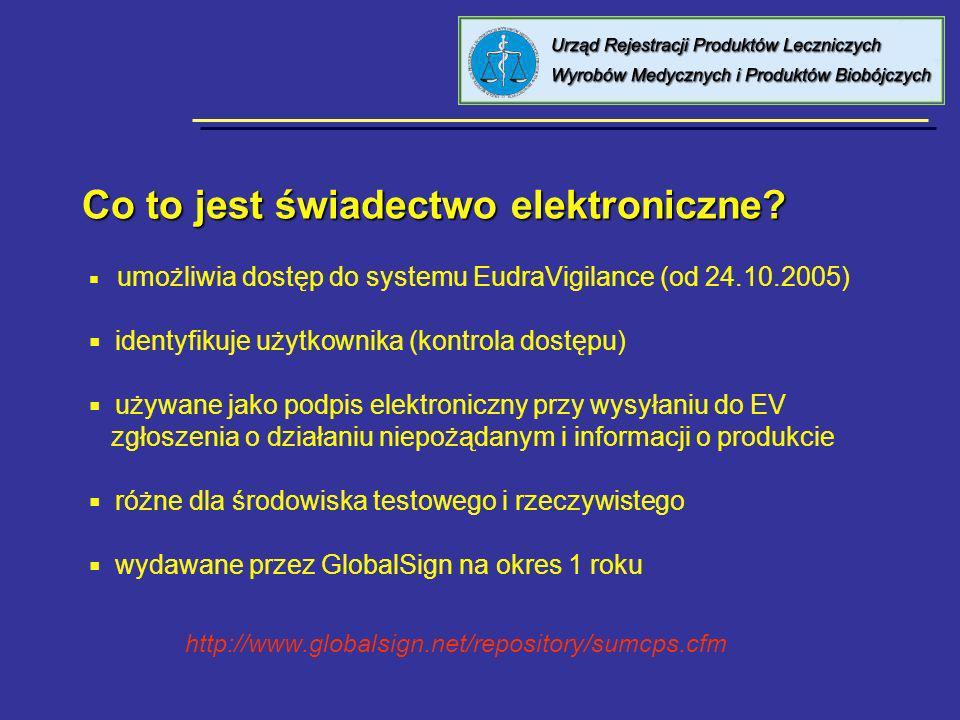Co to jest świadectwo elektroniczne? umożliwia dostęp do systemu EudraVigilance (od 24.10.2005) identyfikuje użytkownika (kontrola dostępu) używane ja