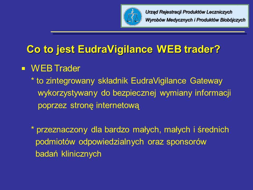 Co to jest EudraVigilance WEB trader? Co to jest EudraVigilance WEB trader? WEB Trader * to zintegrowany składnik EudraVigilance Gateway wykorzystywan