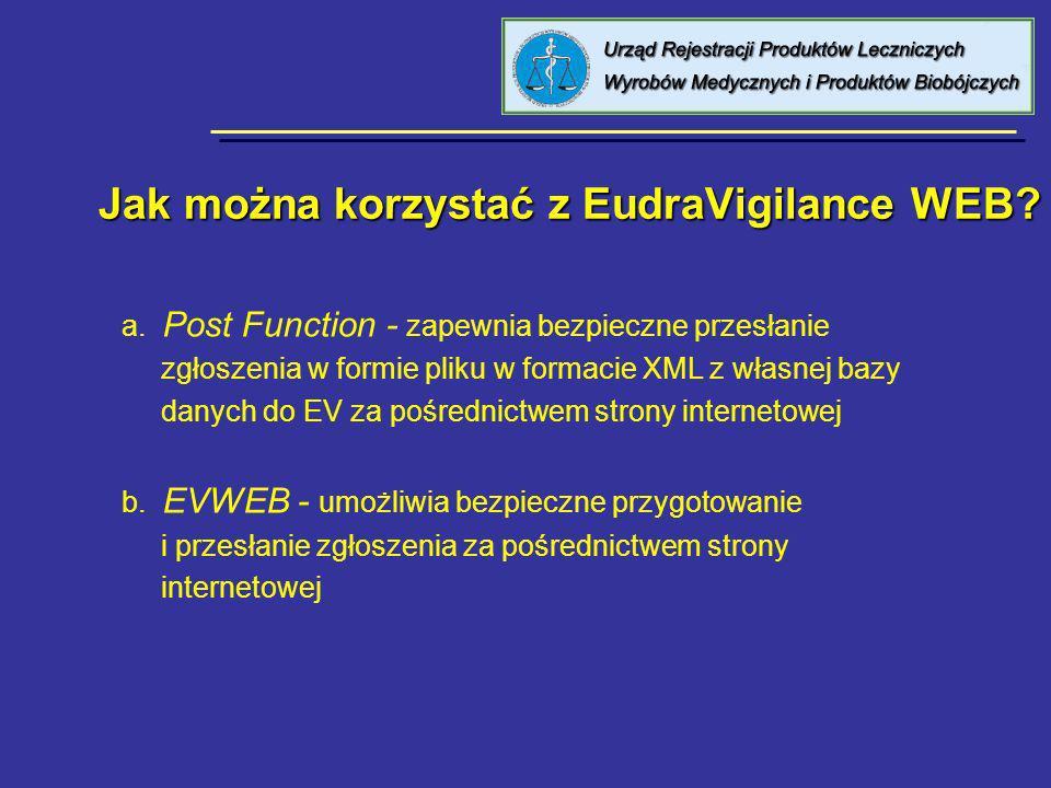 Jak można korzystać z EudraVigilance WEB? a. Post Function - zapewnia bezpieczne przesłanie zgłoszenia w formie pliku w formacie XML z własnej bazy da