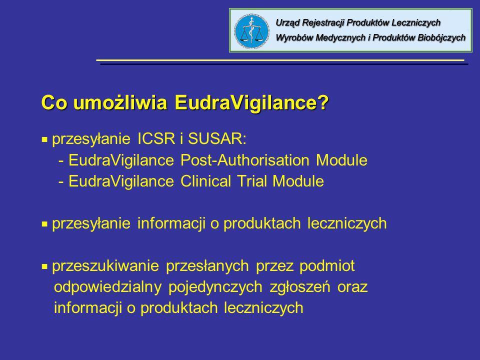 Co umożliwia EudraVigilance? przesyłanie ICSR i SUSAR: - EudraVigilance Post-Authorisation Module - EudraVigilance Clinical Trial Module przesyłanie i