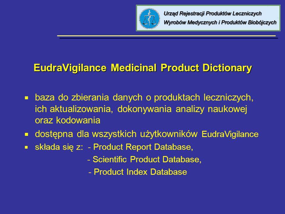 EudraVigilance Medicinal Product Dictionary EudraVigilance Medicinal Product Dictionary baza do zbierania danych o produktach leczniczych, ich aktuali
