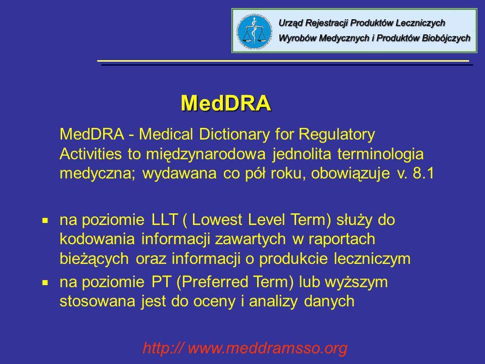 MedDRA MedDRA MedDRA - Medical Dictionary for Regulatory Activities to międzynarodowa jednolita terminologia medyczna; wydawana co pół roku, obowiązuj