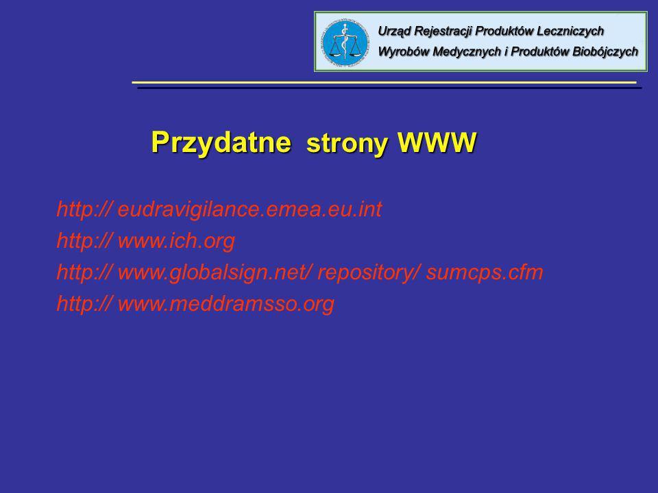 Przydatne strony WWW Przydatne strony WWW http:// eudravigilance.emea.eu.int http:// www.ich.org http:// www.globalsign.net/ repository/ sumcps.cfm ht